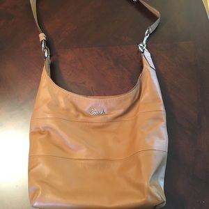 Brown/tan convertible crossbody/shoulder bag